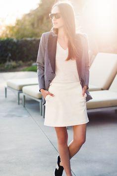 Railroad Stripe Wingtip Jacket, Basic V Neck T, Ivory Mini Skirt, Black and White Trainers