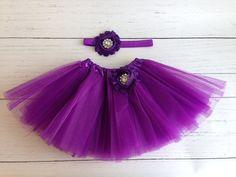 Purple Tutu Set Baby Newborn by SomethingBleuShop on Etsy, $15.00