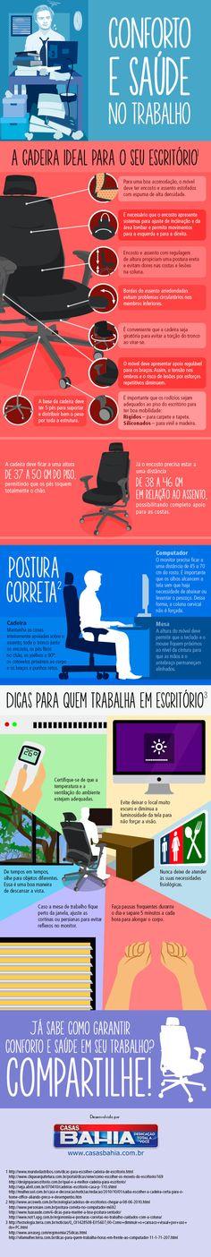 Infográfico –  Dicas para melhorar a sua postura e conforto no trabalho
