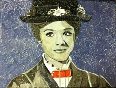 Mary Poppins, 24x18 Collage, Sculpture (2-D Bow Tie) and glue on canvas.