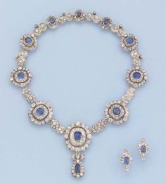 A FINE ANTIQUE SAPPHIRE AND DIAMOND NECKLACE AND EARRINGS Comprising ten graduated sapphire and diamond clusters with diamond figure of eight spacers to the sapphire and diamond pear-shaped pendant, earrings en suite, mounted in silver and gold, circa 1860, 40.2 cm. long