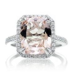 Morganite 11x9 cushion halo diamond solitaire engagement ring