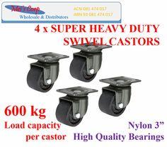 """4 x 3"""" Super Heavy Duty Castor, 600 kg per castor load capacity, swivel. Load Capacity: 600 Kg Per Castor. Precision Double Ball Bearing on Each Wheel. Shore Hardness: 65D. Material: Nylon.   eBay!"""