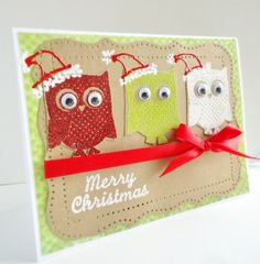 Owl Merry Christmas Card Holiday Embossed Stamps by stephanieh02, $4.25