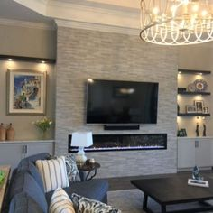 Creative Modern TV Wall Decor Idea for Living Room Design - Home Decor Interior Fireplace Tv Wall, Fireplace Built Ins, Fireplace Remodel, Fireplace Design, Basement Fireplace, Linear Fireplace, Corner Bench Seating, Storage Bench Seating, Floor Seating