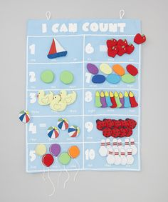 Blue 'I Can Count' Wall Hanging Set by Rosalina #zulily #zulilyfinds