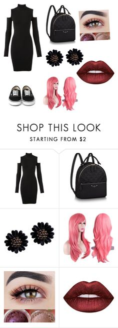 """black dress"" by iamdepressedashell ❤ liked on Polyvore featuring Versus and Lime Crime"