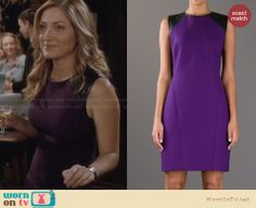 Maura's purple dress with leather shoulders on Rizzoli and Isles. Outfit Details: http://wornontv.net/28940 #RizzoliandIsles #fashion
