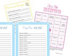 Ideias de brincadeiras para fazer no chá de bebê. Brincadeiras para imprimir, gratuito, é só fazer o download pro seu chá de bebê! Tem o Bingo, entre outros.