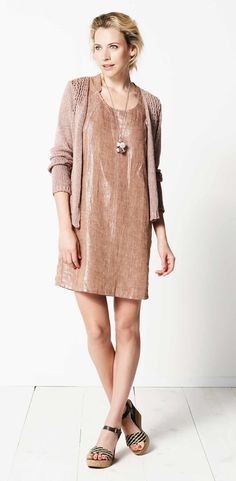 Beautiful metallic linen Sandwich dress also has a matching jacket but is so soft & beautiful with this cardi!