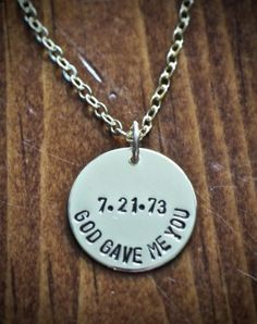 """God Gave Me You Necklace- Gold """"God Gave Me You"""" necklace personalized with a name, date or initial- a keepsake adoption gift, couples jewelry or new baby necklace to celebrate God's gift.    Gold filled sterling silver necklace and charm.  Circle charm measures 3/4″.  Personalize the center of the charm with a date or initial."""