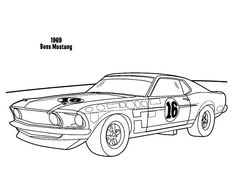 1969 Boss Mustang Car Coloring Pages