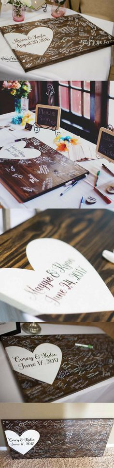 This is a great alternative for a guest book that you will treasure in your home for years to come! Guests can easily sign on the wood surface using Sharpie markers or various paint pens leaving you with a wonderful keepsake! #rusticwedding #rusticdecor #rustic #decorations #rusticweddingdecorations #rusticweddingsigns #affiliate