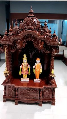Wooden Temple For Home, Temple Design For Home, Indian Architecture, Religious Architecture, Home Theater Room Design, Mandir Design, Pooja Mandir, Pooja Room Door Design, Puja Room