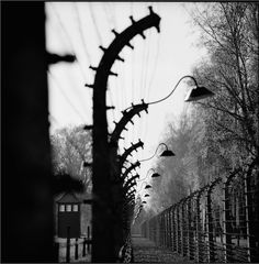 Auschwitz I. The double barbed wire fence system of the camp.