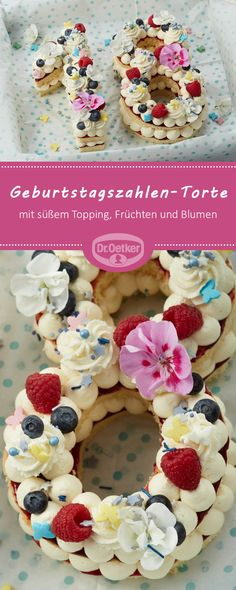 Birthday cake figures- Geburtstagszahlen-Torte Birthday Number Pie: Fruity birthday numbers decorated with sweet topping, fruits and flowers - No Cook Desserts, Fall Desserts, Torte Au Chocolat, Cake Lettering, Cake Recipes, Snack Recipes, Cake Games, Number Cakes, Birthday Numbers