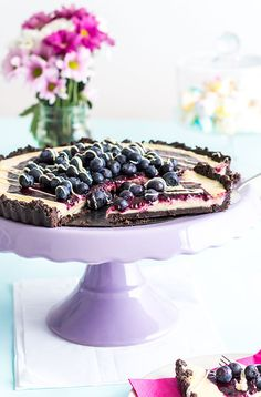 Oreo White Chocolate Tart mit Blaubeeren