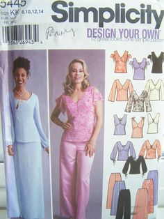 SALE Women's Simplicity 5445 Pattern Misses' Evening Top, Skirt and Pants Formal Wear, Bridal Wedding Attire Easy Formal Pattern Size 8 - 14