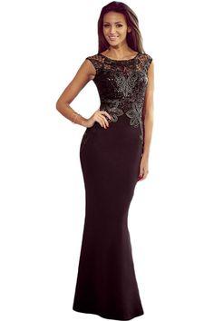 Black Elegant Lace Applique Sequin Mermaid Evening Dress