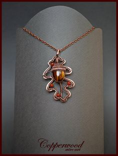 Wire wrapped jewelry set / Copper wire wrapped brooch / Acorn