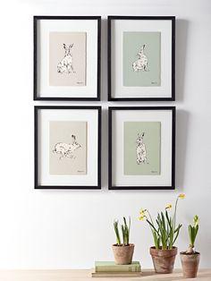 Set of Four Framed Hare Prints
