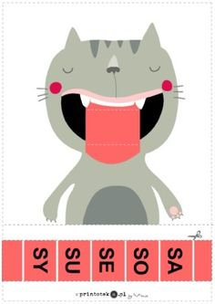 Suwak logopedyczny - kot. Głoska [s] - Printoteka.pl Monster Games, Alphabet Worksheets, Reading Comprehension, Speech Therapy, Diy For Kids, Activities For Kids, Teacher, Logos, Children