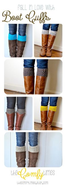 The perfect addition to any fall outfit... BOOT CUFFS.  Crochet autumn boot socks, boot cuffs, boot toppers at theComfyTimes on Etsy.  #boots #bootcuffs #crochet