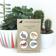 woodland animal pin back button badges (set of four) by katebroughton on Etsy https://www.etsy.com/listing/126670206/woodland-animal-pin-back-button-badges
