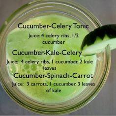 Cucumber Celery Tonic, Cucumber Kale Celery, Cucumber Spinach Carrot juices