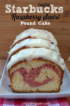 CopyCat Starbucks Raspberry Swirl Pound Cake Recipe This Pound Cake is like heaven Save s enjoying Starbucks at home Food Cakes, Tea Cakes, Cupcake Cakes, Cupcakes, Köstliche Desserts, Delicious Desserts, Dessert Recipes, Yummy Food, Raspberry Recipes