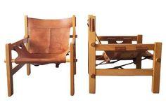 Børge Mogensen-Style Safari Chairs, Pair