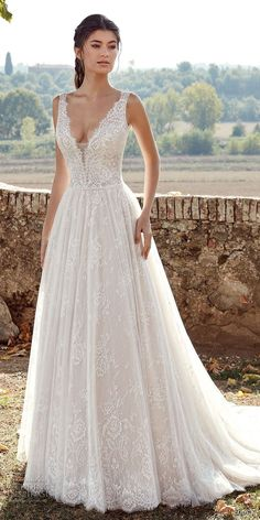 eddy k 2019 ek sleeveless deep plunging v neck full embellishment romantic a line wedding dress chapel train (13) mv -- Eddy K. 2019 Wedding Dresses #weddingdress