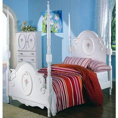 Sophie Poster Bed Bedroom Furniture Set In White Finish The Sophie  Collection With Poster Bed By Coaster Is Designed To Fit The Lifestyle Of  Any Young Lady.