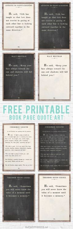 Amazing set of HUGE free printable farmhouse style signs! The Words, Printable Quotes, Printable Wall Art, Printable Pictures, Art Quotes, Inspirational Quotes, Quote Art, Motivational, Book Quotes