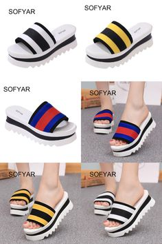[Visit to Buy] 2017 stripe color slipper matching large base sponge wholesale han edition women slippers sandals summer the new Europe style  #Advertisement