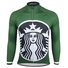Starbucks Back Vision Long Sleeve Men's Cycling Jersey Cycling Quotes, Cycling Art, Cycling Jerseys, Cycling Bikes, Winter Cycling Gear, Hipster Coffee, Triathlon Training, Long Winter, Cycling Outfit