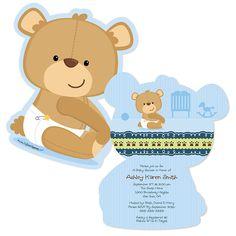 Baby Boy Teddy Bear - Shaped Baby Shower Invitations - BabyShowerStuff.com