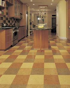 This multi-toned checkered cork floor is the perfect complement to a neutral kitchen. Cork Flooring, Vinyl Flooring, Kitchen Flooring, Floor Design, Tile Design, House Design, Baltimore, Cork Tiles, Neutral Kitchen