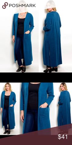 🏆HOST PICK🏆 Teal Duster Length Cardigan Teal color. Duster length. Hip level front pockets. Open front, no fasteners. 95% polyester, 5% spandex. ⚠️COLOR IS TEAL, NOT BLUE as appears in images. Camera doesn't pick up the green that makes it teal. Image 3 is close to true color but isn't an image of actual sweater. FIT RUNS VERY SMALL. GO UP ONE-TWO SIZES.⚠️ Brand new boutique retail w/o tag. No trades, no off App transactions or negotiations. 👉🏽Touch Buy Now and you will be prompted to…
