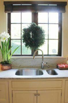 Wreath over sink