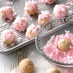 Last Minute Holiday Desserts.A tray filled with Raspberry Coconut Balls Bake Sale Recipes, Cookie Recipes, Dessert Recipes, Fudge Recipes, Easter Recipes, Candy Recipes, Fall Recipes, Cherry Cookies, Lemon Sugar Cookies