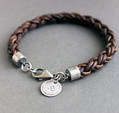 Mens Braided Leather Bracelet Thick Brown Sterling Silver Custom Sized