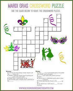 Children's Busy time activity Mardi Gras Crossword Puzzle - Carnival Printables