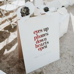 Keep your guests at the moment by requesting an unplugged ceremony. Don't worry—there will be plenty of time for selfies on the dance floor later! Unplugged Wedding Sign, Wedding Ceremony Signs, Wedding Signage, Diy Wedding, Dream Wedding, Wedding Day, Wedding Dreams, Essense Of Australia, Wedding Stationery