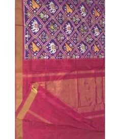 Purple Handloom Pure Ikkat Silk Saree