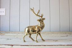 Vintage Brass Elk // Solid Brass by genrestoration on Etsy, $85.00