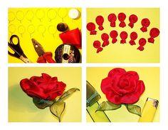 Fabric flower rose tutorial