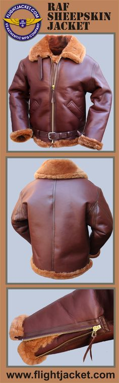 "The R.A.F. 'Irvin' Sheepskin Jacket has hand warmer pockets in the front (or no front pockets, your choice). It also has a heavy duty brass zipper with wind flap and belted straps of goat skin that provides enclosure of the collar. Brass zippered cuffs. All seams are reinforced with goat skin strip. Waist belt is made of goatskin and a 2"" buckle. Explore the collection of our military spec. flight jackets at a discounted price.  Made IN THE USA  www.flightJacket.com"