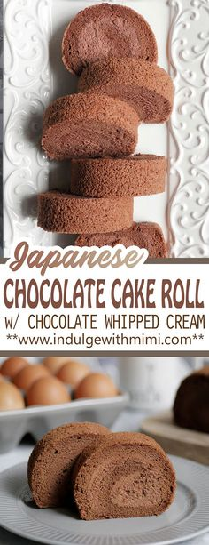 Japanese style chocolate cake roll made from a super soft and fluffy chiffon cake that melts in the mouth Inside its filled with a light chocolate whipped cream Airy and. Chocolate Roll Cake, Chocolate Whipped Cream, Chocolate Desserts, Japanese Chocolate Cake Recipe, Chocolate Cupcakes, Chocolate Chiffon Cake, Chocolate Ganache, Japanese Sponge Cake Recipe, Fluffy Chocolate Cake
