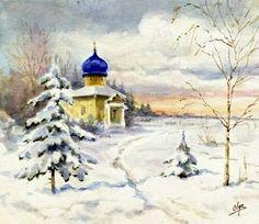 "Watercolour painted by Grand Duchess Olga Alexandrovna Romanova of Russia.  ""AL"""